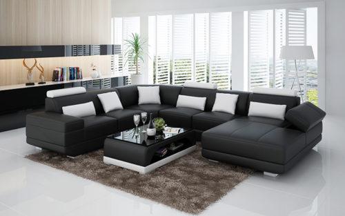 Adria design soffa svart med vita detaljer