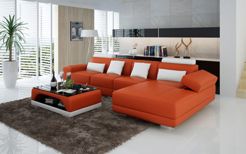 Adria divansoffa Orange med vita detaljer