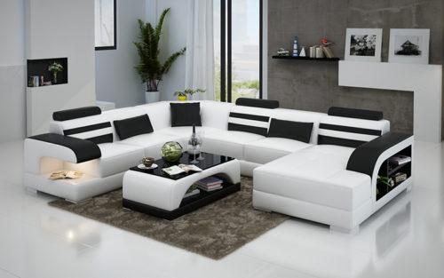 Linda design U- soffa vit med svarta detaljer
