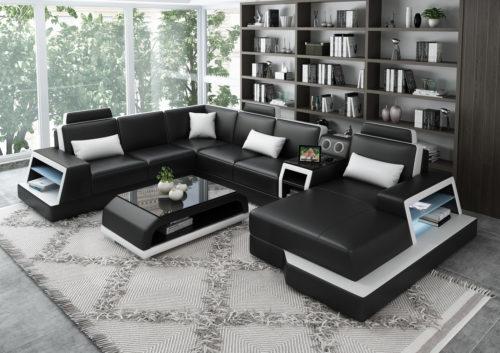Messina U-modern soffa med ied belysning och högtalare