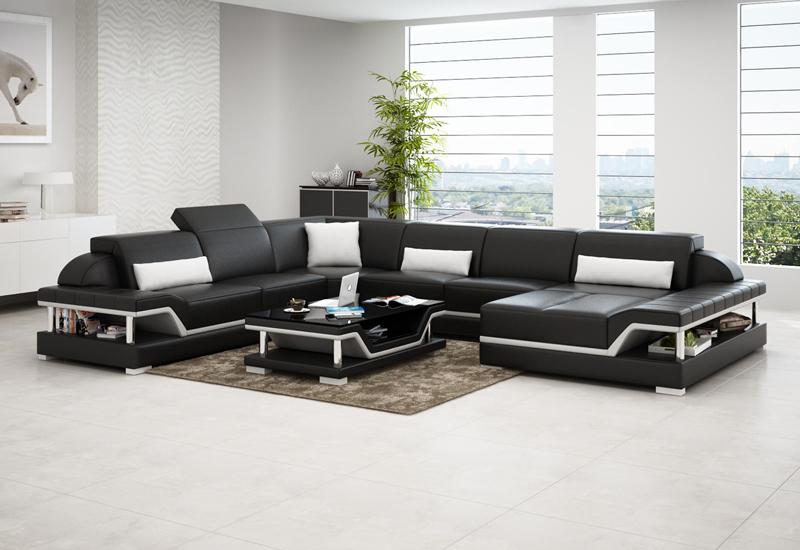 Pernilla design U soffa svart med vita detaljer
