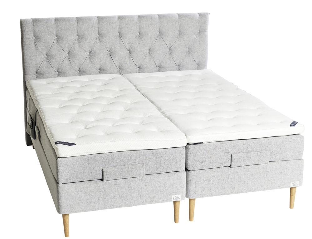 Venus grå ställbar säng med Chesterfield gavel