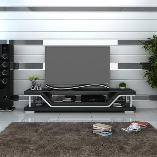 Pernilla TV-bänk svart med vita detaljer