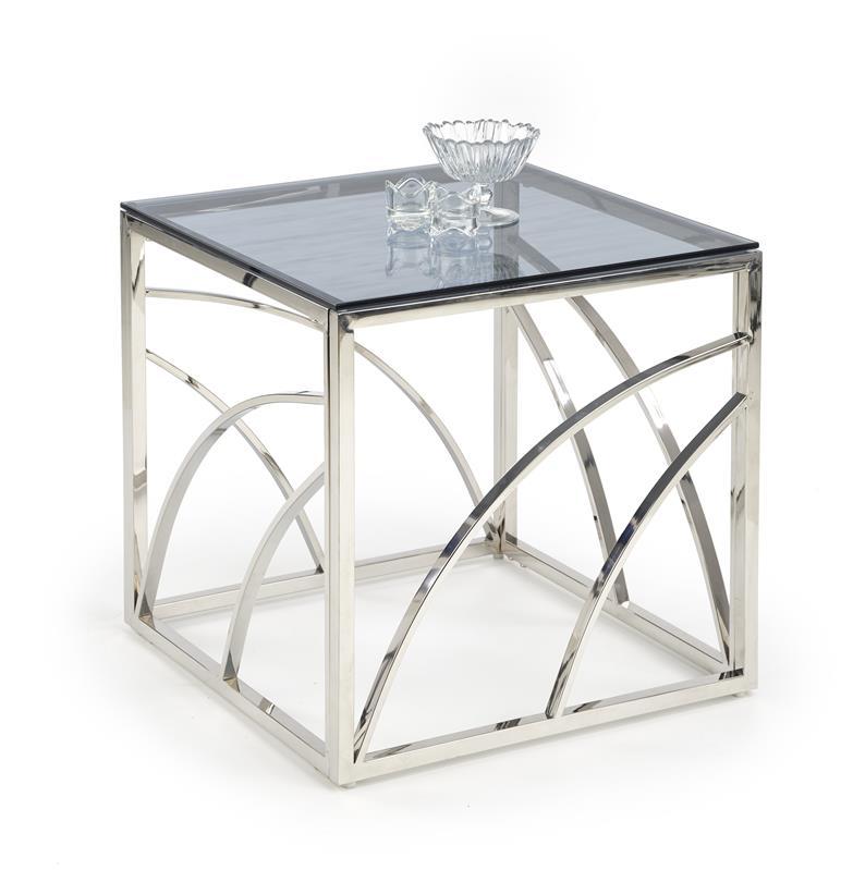 Dublin soffbord rökfärgat glas-krom 1